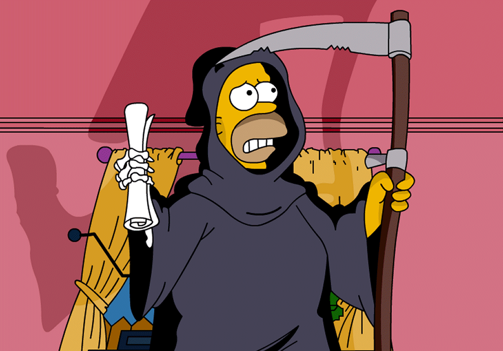 Homer en Faucheuse / source : cartoongraphics.blogspot.com